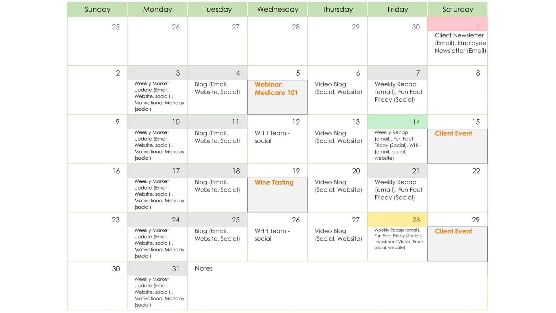 Sample Communication Calendar