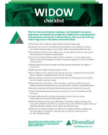 Widow Checklist
